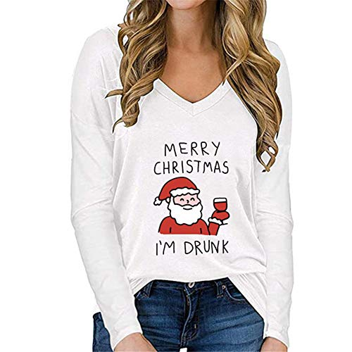 ZFQQ Otoño/Invierno Camiseta de Manga Larga Informal Suelta con Cuello en V y Estampado navideño para Mujer