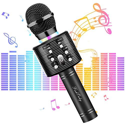 Micrófono Karaoke Bluetooth, FISHOAKY Microfono Inalámbrico Altavoces, Portátil Karaoke para Niños Cantar, Función de Eco, Teléfono Inteligente o Android/iOS (Negro)