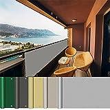 AEREY Balkonabdeckung 100x600cm, BalkonSichtschutz, Pflegeleichtes Wetterbeständiges Balkonverkleidung Sichtschutz meterware Deko für Balkongeländer - Hellgrau