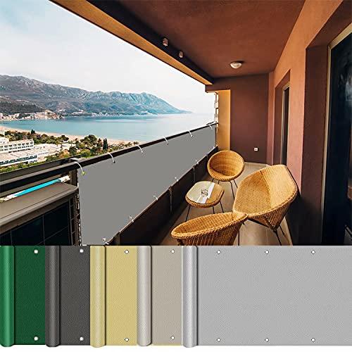 AEREY Pantalla para balcón 120x550cm, Pantalla de Privacidad, Protección UV Privacidad Cubierta...