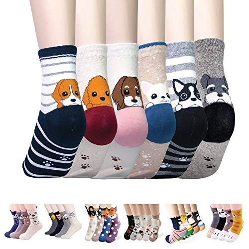Womens Casual Socks - Cute Crazy Lovely Animal Cat Dogs Anime Character. Goods for Gift Ideas. (6 Doggies)