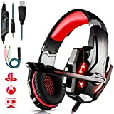 KJDFN Qwee Gaming-Headset for PS4, Stereo Surround Sound Gaming Headset mit Mikrofon, 3,5 mm...