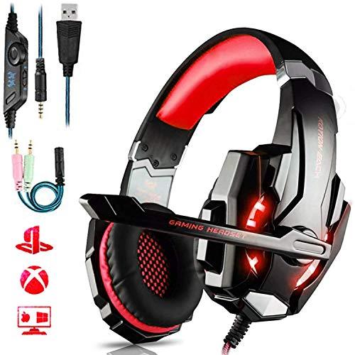 Sebasty Qwee - Auriculares de diadema para juegos PS4, sonido envolvente estéreo con micrófono, jack de 3,5 mm con luz LED, cancelación de ruido, para PS4, Xbox One, Xbox One, Nintendo Switch, PC/