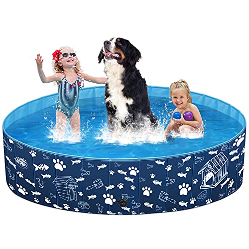 of portable pets dec 2021 theres one clear winner Unido Foldable Dog Pet Pool for Kids Cats, Kiddie Pool Toys for Toddlers Boys Girls Gifts, Bath Swimming Pool for Large Dogs Cats in Backyard Garden