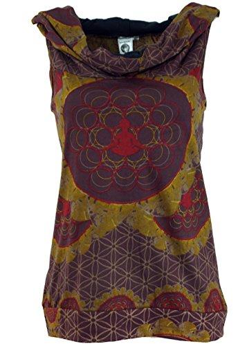 Guru-Shop Kapuzen Mandala Tank Top, Goa Festivaltop, Damen, Moccabraun, Baumwolle, Size:S/M (34/36), Tops & T-Shirts Alternative Bekleidung
