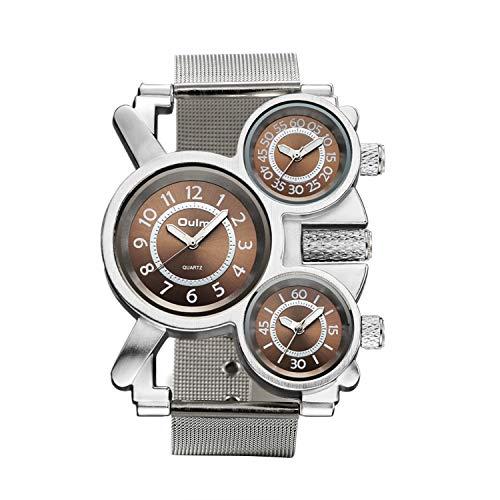 Avaner Herren Armbanduhr Analog Quarzwerk mit Edelstahl Meshband und DREI Zeitzonenanzeige Silber AN013-02