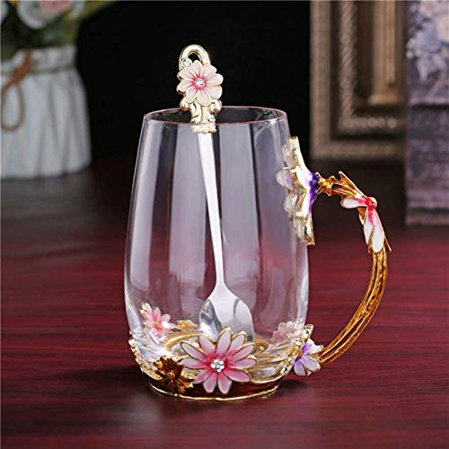 Tea Cups Coffee Mug Cups Clear Glass With Spoon Set Handmade Daisy...