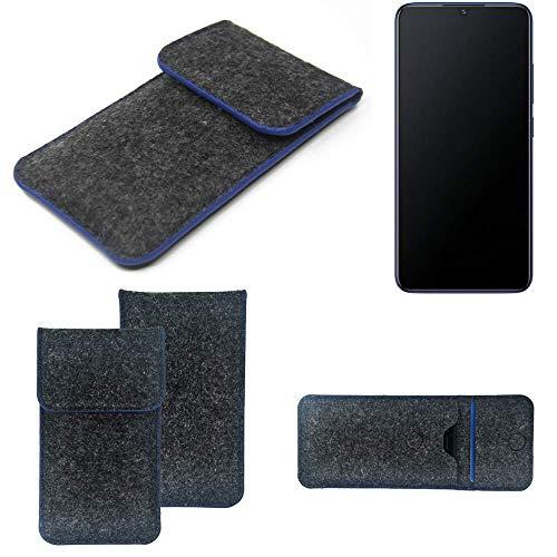 K-S-Trade Filz Schutz Hülle Für Vivo V11 Schutzhülle Filztasche Pouch Tasche Hülle Sleeve Handyhülle Filzhülle Dunkelgrau, Blauer Rand
