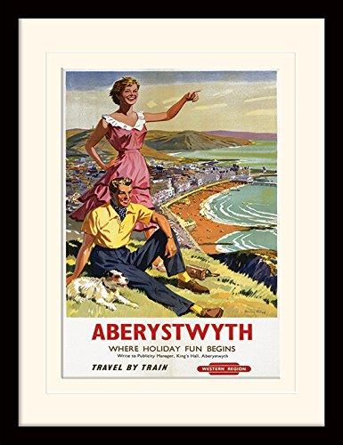 Museo Nacional de ferrocarriles Aberystwyth montado y Enmarcado impresión, Multicolor, 30x 40cm