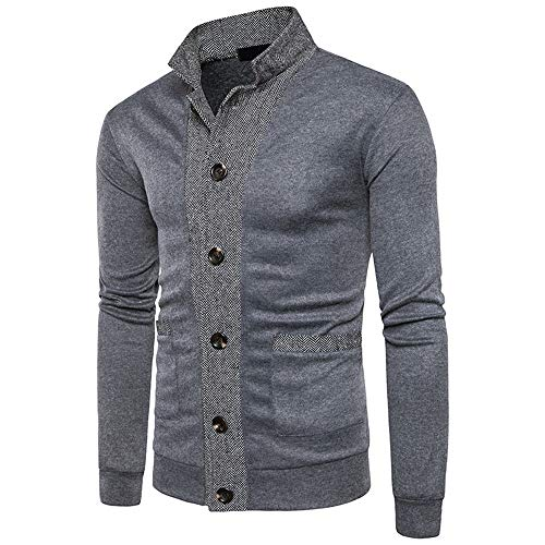 MENAB Mens Knitted Cardigan Thick Sweater Full Zip Stand Collar Warm Jumper Fleece Lined Winter Coat Shawl Cardigan Warm Winter Knitted Wool Feel Jumper Blue Grey Chunky