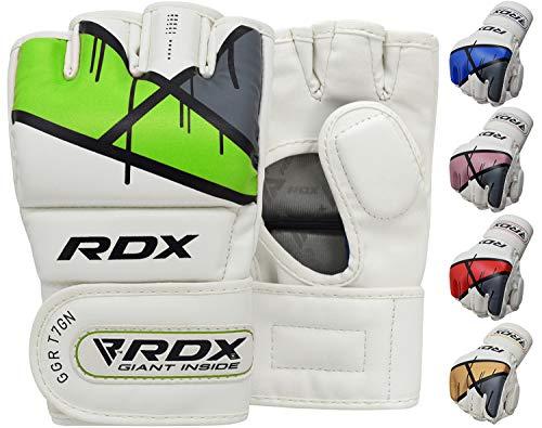 RDX MMA Kunstleder Handschuhe UFC Kamfsport sandsackhandschuhe Sparring Grappling Trainingshandschuhe Gruen, Gr. S
