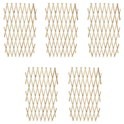 Galapara 5er-Set Ausziehbarer Spalierzaun aus Holz Zaunelement Rankhilfe | zusammenfaltbar | variabel verstellbar| Ziehharmoinka Türgitter Zaun Absperrung Hindernis Barriere, 180 x 90 cm