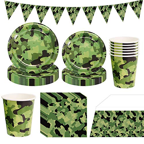 66PCS Camouflage Disposable Tableware, PartyBloom Camouflage Party Supplies with Camo Plates Cups Napkins and Triangle Banner Serves 16 for Army Hunting Themed Camouflage Birthday Party Decorations