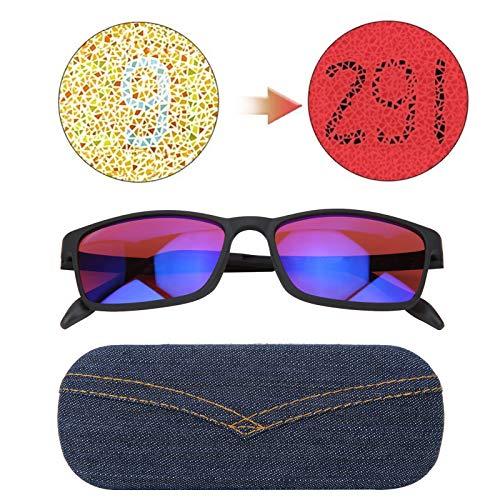 DAUERHAFT Lentes de resolución de Color Mejorada, anteojos para daltónicos, anteojos correctivos para daltónicos, Mejora de la Vista de la Debilidad de la ceguera de Color Rojo Verde