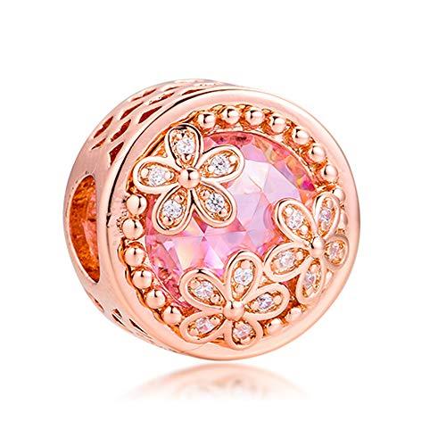 PANDOCCI 2020 - Abalorio de plata de ley 925 con diseño de margarita rosa brillante para pulseras Pandora originales