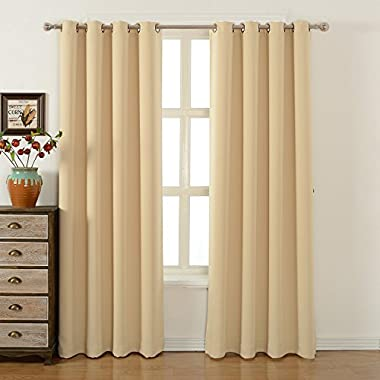Blackout Bedroom Curtains Set 100% Polyester Grommet Top Room Darkening Panels Thermal Insulating Draperies For Saving Energy Noise Reduction & UV Rays Blocking Beige