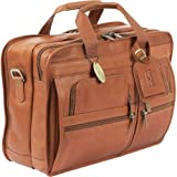 Claire Chase Executive Leather Computer Briefcase (Saddle) (13'H x 18''W x 9'D)