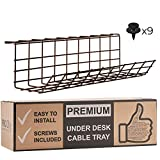 Under Desk Cable Management Tray - Cable Organizer for Wire Management. Metal Wire Cable Tray for Office and Home. Perfect Standing Desk Cable Management Basket (Brown Cord Basket - Single 17'')