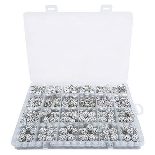 TOAOB 900 Stück Metall Strass Spacer Perlen und Glitzer Disko Kugel Bead Silber Zwischenperlen 4mm bis 10mm für Schmuckherstellung