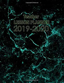 Teacher Lesson Planner 2019-2020: A Daily and Weekly Plan Book for Academic Time Management, Black and Teal Marble
