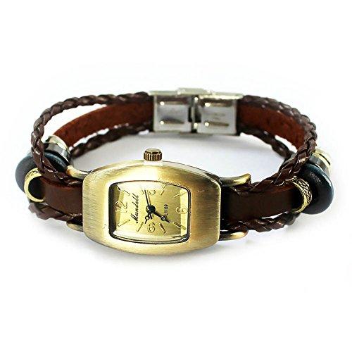 Mes-Bijoux-Bracelets Reloj de Pulsera Ovalado Cuero Joya Reloj Mujer Números Arábigos Juego...