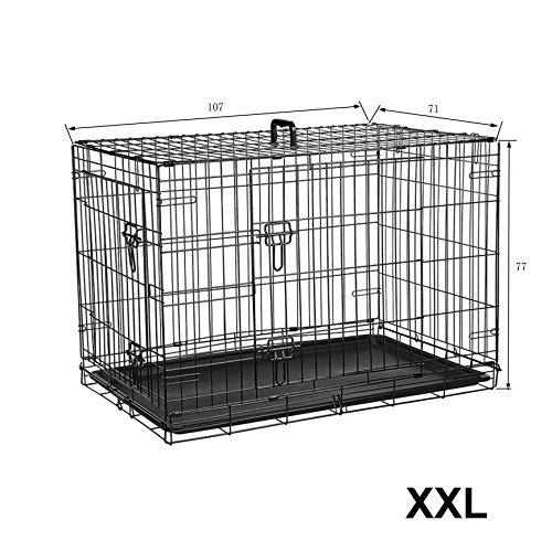 Ribelli Hundetransportbox – pulverbeschichtet und zusammenklappbar – Hundekäfig aus Metall in 2 Größen – Tierkäfig mit 2 Türen und Tragegriffen – belastbar bis 43 kg (XXL 107x77x71 cm)