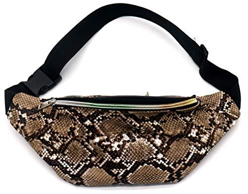 Dielay Dames Fanny Pack Festival Tas Heuptas PU Slangenleer Hip Pack/Waist Bag 31x12cm