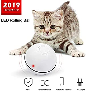 Netne Cat Toys Ball with LED Light,[2019 Upgraded] 360 Degree Self-Rotating Ball USB Rechargeable Interactive Cat Ball Toy,Stimulate Hunting Instinct Kitten Funny Chaser Roller Pet Toy-White