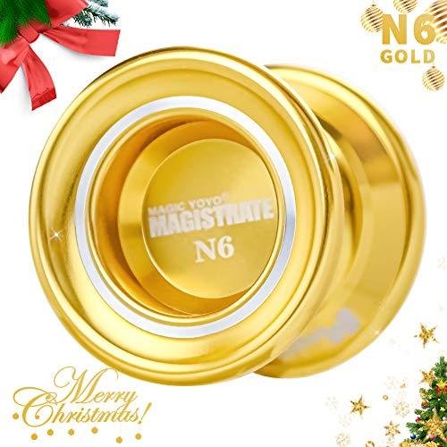 MAGICYOYO N6 Magistrate, Professional Unresponsive Yoyos for Kids, Polished Alloy Aluminum Yo-yo with Shinning Finish Yoyo Bag + 5 Yoyo String + Glove Gift ( N6 Golden )