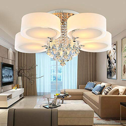 Wangkangyi E27 LED RGB Acryl Kristall Deckenleuchte Warmweiß Deckenlampe mit Fernbedienung für Wohnzimmer Schlafzimmer [Energieklasse A++] (5-Flammig)