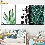 KWzEQ Hoja Verde Planta Pared Arte Lienzo Pintura nórdica Cartel e impresión Pared Sala Dormitorio decoración del hogar-Pintura sin marco50x70cmx3