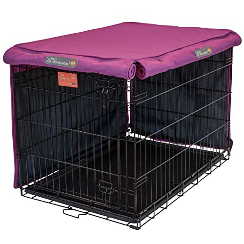 Pet Progressions by K&H 30 Inch Dog Crate Cover, Navy - Tear Resistant Dog Kennel Covers Basic Crates