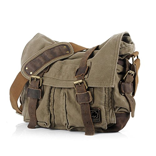 """eBoTrade New Version Men's Trendy """"Colonial"""" Italian Style Messenger Gift Bag with Leather Straps – Olive Drab Green"""