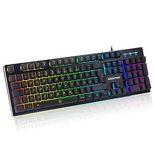 EZONTEQ Ergonomische Gaming Tastatur RGB LED Beleuchtung wasserdicht Tastenkappen Design QWERTZ Deutsche Layout für Bussiness, Gaming
