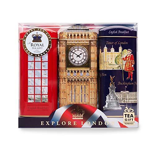 """Teedosen mit englischem Tee """"Explore London""""–englischer Frühstückstee, 3x 20Teebeutel in Spardosen mit Londonmotiven"""