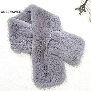 Rex Rabbit Fur Scarf Knitted Fur Scarves Girls Wraps Winter Soft Mufflers