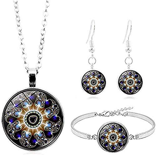 Ahuyongqing Co.,ltd Necklace Mandala Flower Po Glass Cabochon Jewelry Silver Chain Necklace Bracelet Earring Jewelry s for Women Necklace