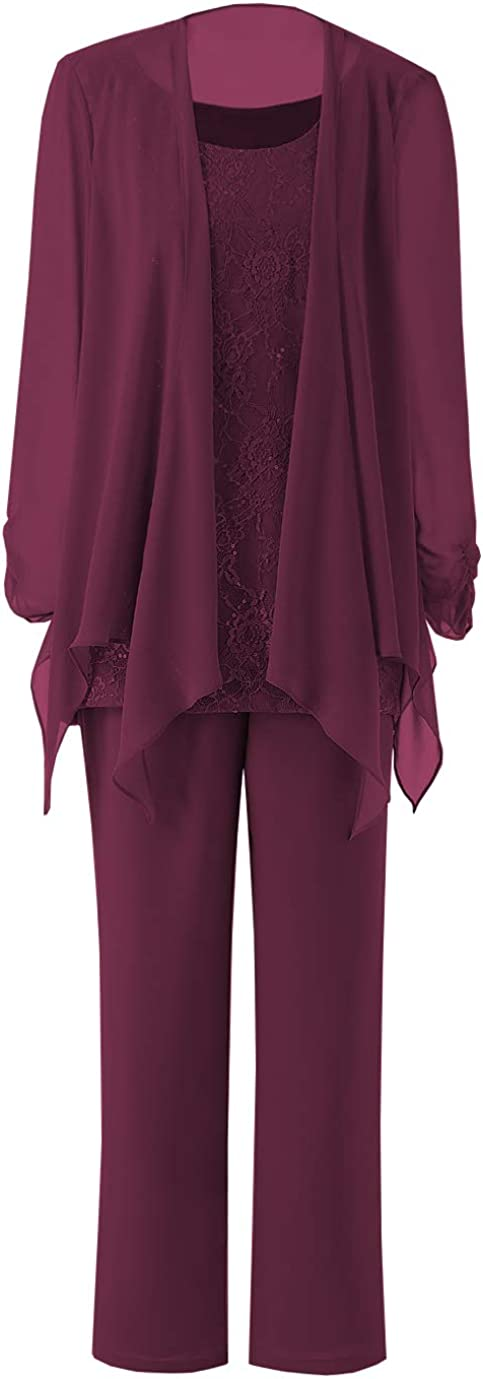 Fitty Lell Women's Chiffon Mother of The Bride Pant Suits Long Sleeves Jacket for Wedding Mothers Guest Dress Three Pieces