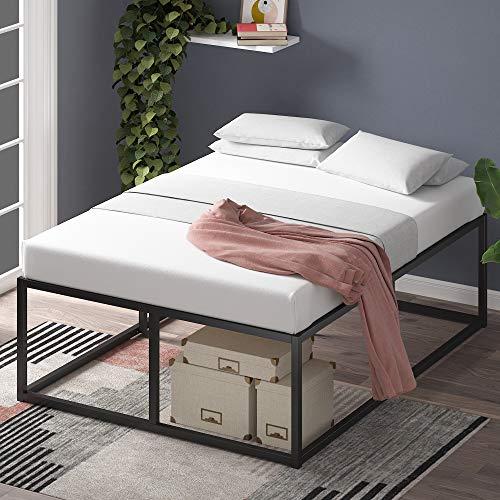 Estructura de cama metálica ZINUS Joseph 46 cm | Base para colchón | Somier de láminas de madera | Almacenamiento debajo de la cama | 150 x 190 cm | Negro