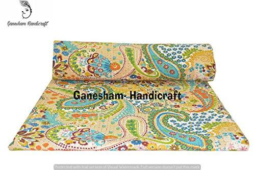 Ganesham, décoration indienne de la maison, brodée à la main, motif cachemire, style bohème, style ethnique kantha, literie bohème, couverture de canapé en coton fait à la main, taille Queen size 228 x 274,3 cm
