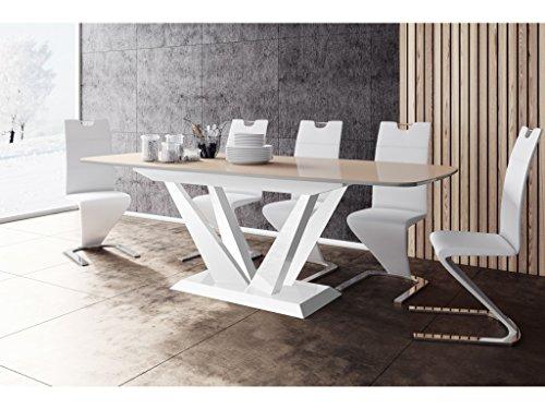 H MEUBLE Table A Manger Design Extensible 160÷260 CM X P : 89 CM X H: 75 CM – Cappuccino