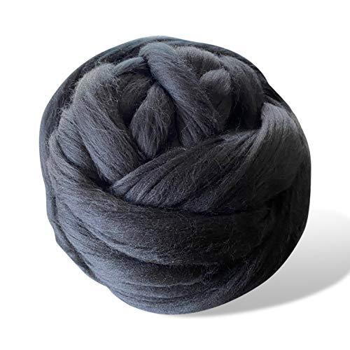 Revolution Fibers - Lana de merino negra teñida – Top de lana de primera calidad de 21 micras, suave hilado de lana, hilo grueso, fieltro de aguja y fieltro húmedo, hilado y tejido a mano (16 onzas)