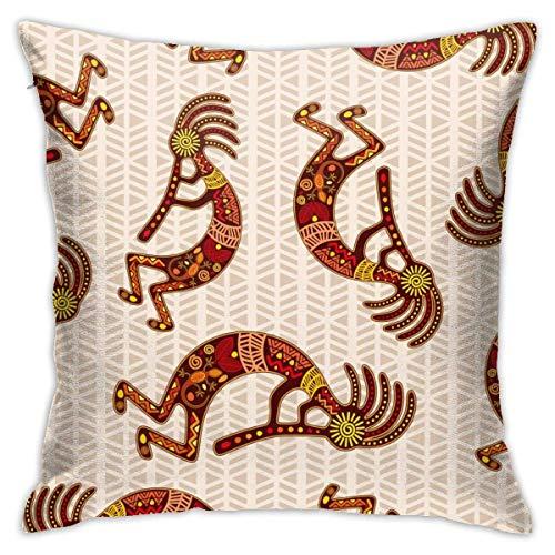 Hangdachang Kokopelli - Funda de almohada personalizada, diseño tribal para coche, sofá, hogar, 45,4 x 45,8 cm