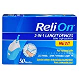 Relion 2-in-1 Lancet Device 25 Gauge 1.8mm for Normal Skin 50 Count