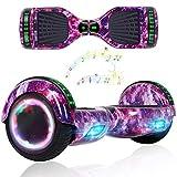 Wind Way Hoverboard Bluetooth 6.5 Pouces Gyropode Lumière Moteur 700W Batterie 36V Auto Équilibré avec Sac et Télécommande Skateboard Électrique Pas Cher pour Enfants et Adultes - Rose Galaxy