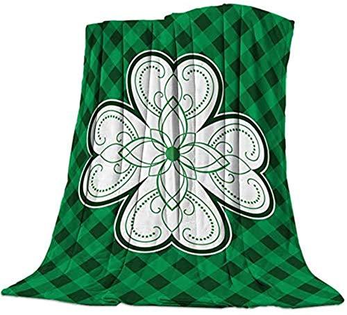 Manta suave para sofá, dormitorio, adultos, niños, trébol del día de San Patricio, cuadros de búfalo verde y negro, 50 × 80 pulgadas