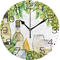 Hjkjkj Wall Clock Beautiful Abstract Autumn Falling Maple Leaves Wall Clock Fashion Frameless Decorative Clock for Kitchen Bedroom Living Room Classroom Home Decor - Round Shape Size: 24Cm