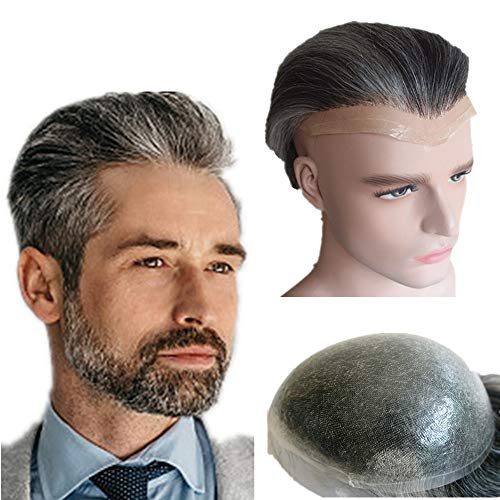 Grey hair Toupee for men Hair pieces for men N.L.W. European virgin human hair replacement system for men, 10' x 8' human hair toupee men hair piece. PU Base