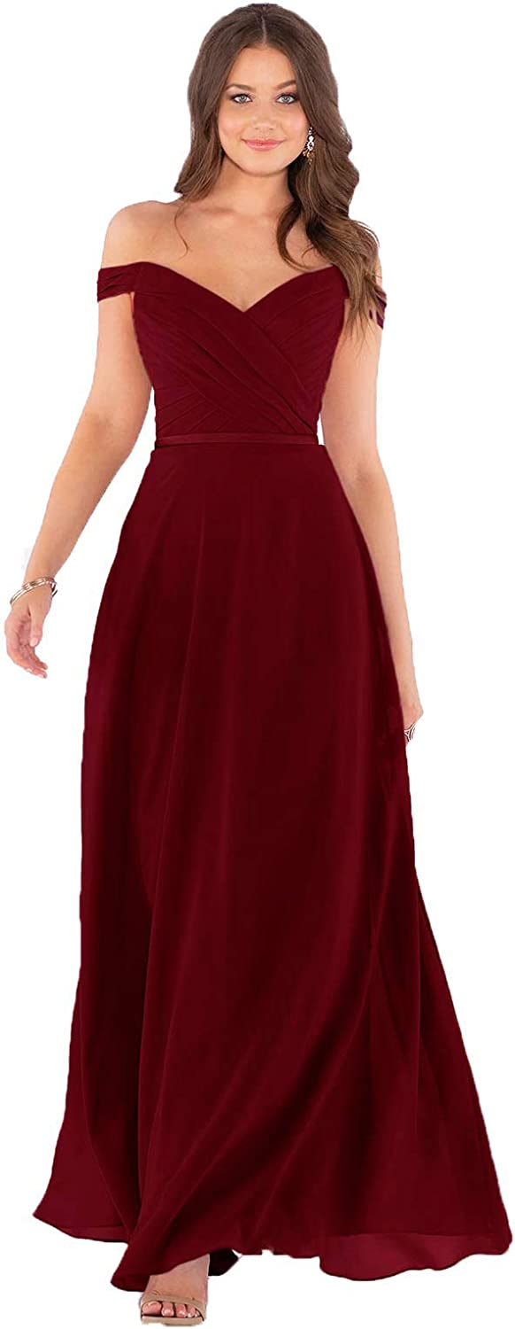 Fanciest Women's High order Off Shoulder Bridesmaid Chiffon Fo Long Dresses Animer and price revision