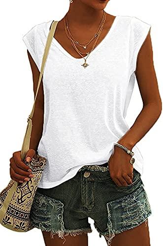 Camiseta de Manga Corta para Mujer Camisetas Básicas holgadas (White,M,M)